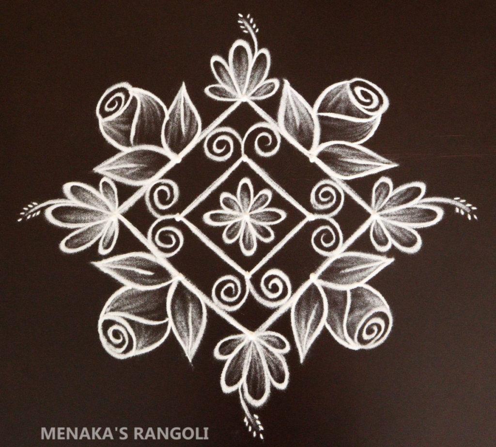 5 to 1 Dots Rangoli Design