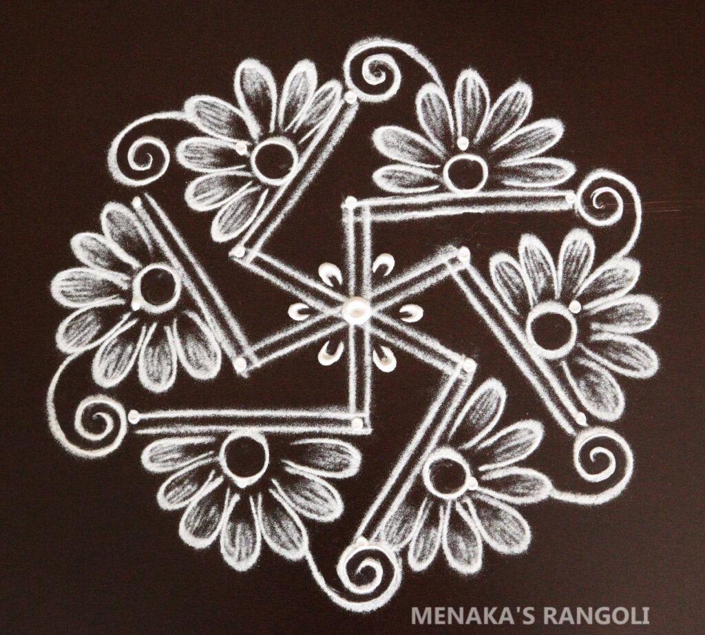 Two Lines Rangoli Design