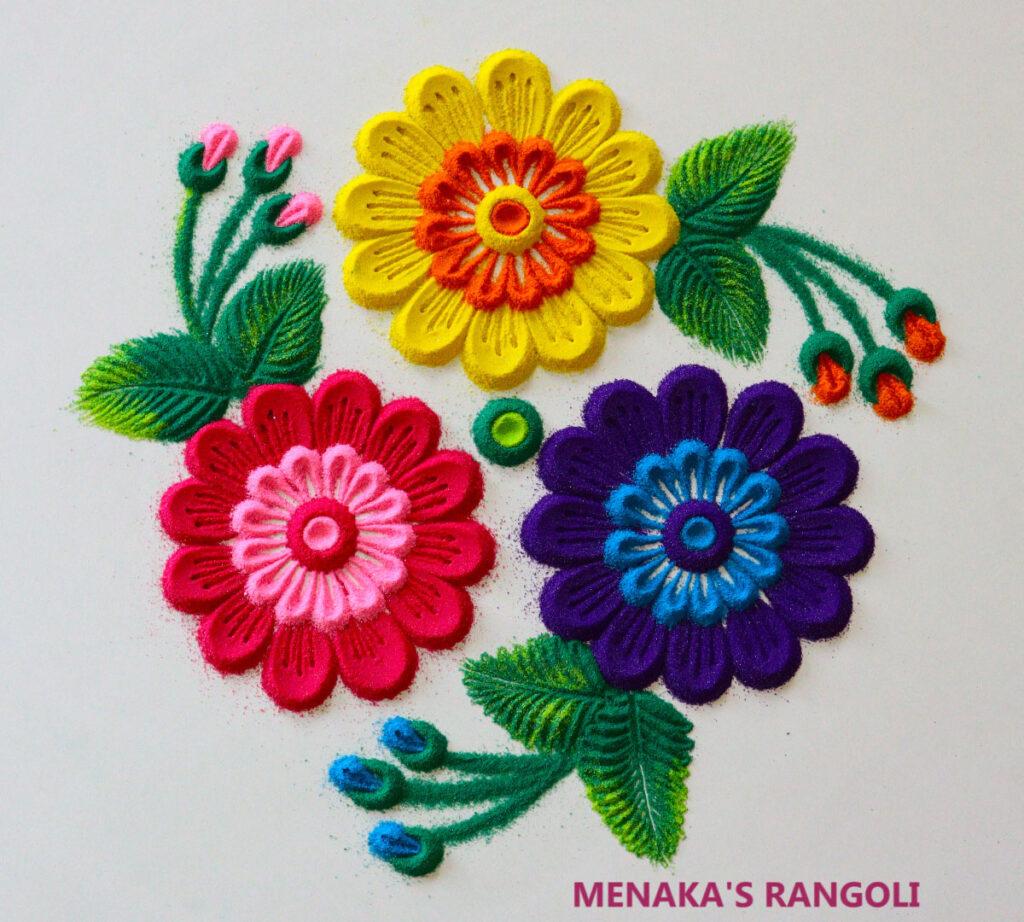 Flower Rangoli For Diwali 2020
