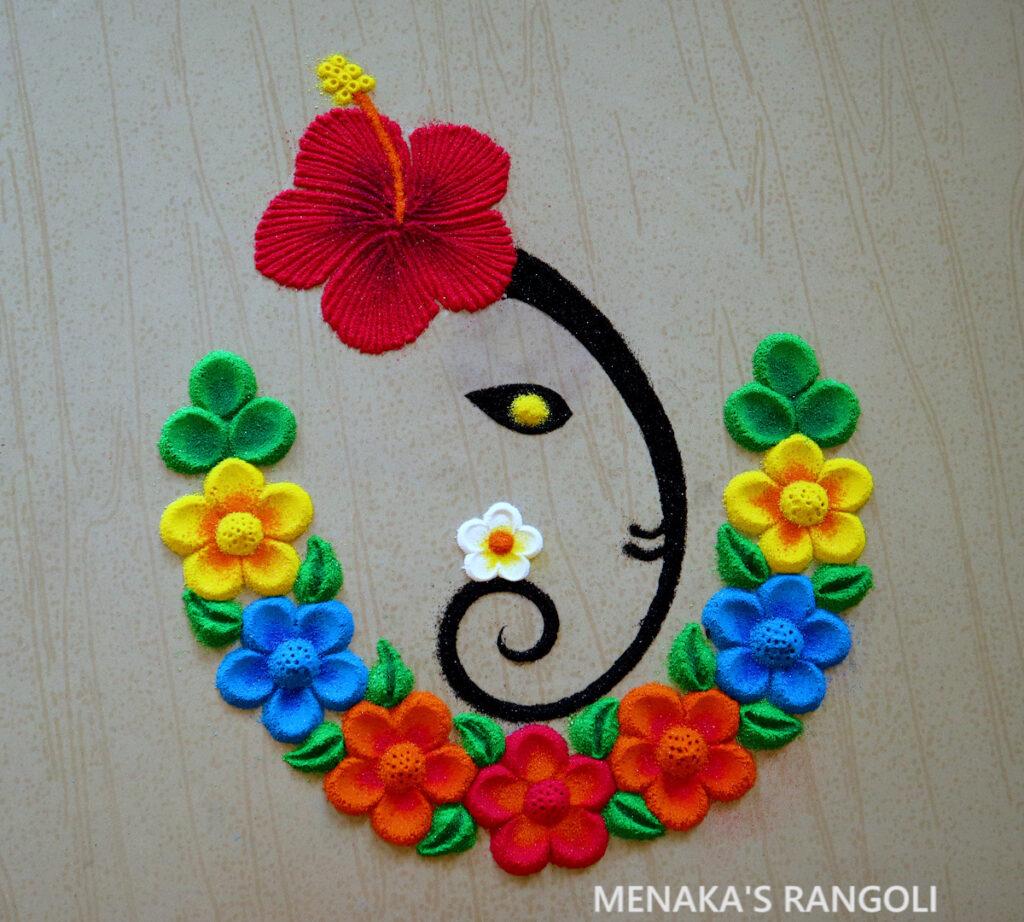 Easy Ganesha Rangoli Design